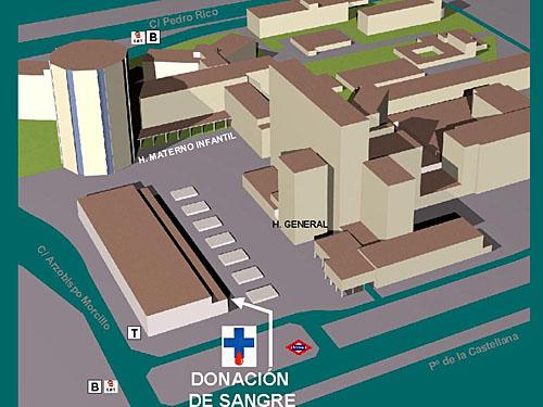 Donaci n de sangre plano de situaci n for Hospital de dia madrid