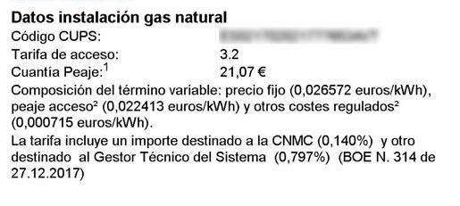 Factura del gas
