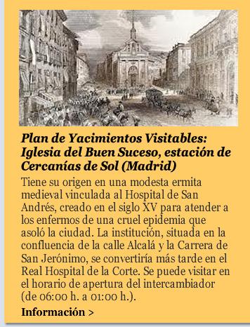 Plan de Yacimientos Visitables: Iglesia del Buen Suceso, estación de Cercanías de Sol (Madrid)